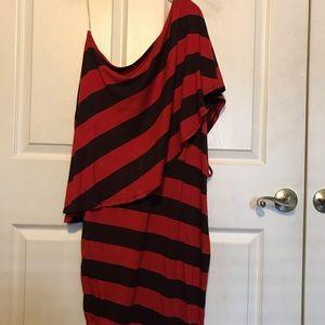 Baby Phat Dress Size 1X Red/ chocolate stripe